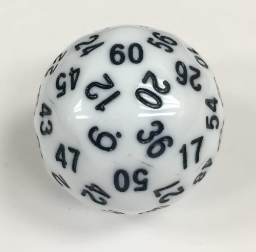 60 Sided White Jumbo Die Product Number 18503