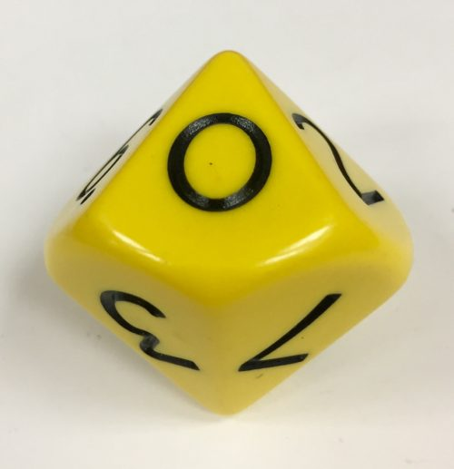 0-9 Yellow Jumbo Place Value Die Product Number 15880