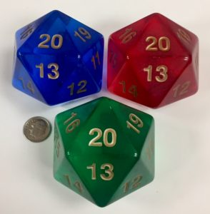 55mm Transparent 20 Sided Jumbo Dice