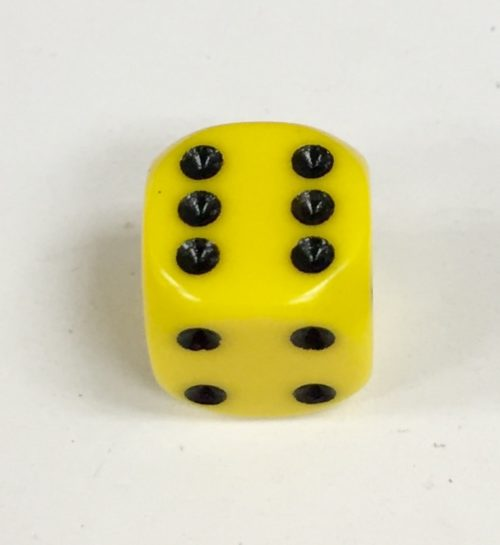 12mm D6 Yellow Dice with Black Pips