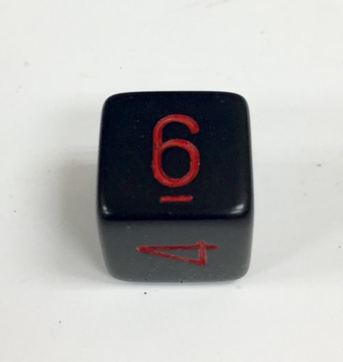 6 Sided Black Die with Red Numbers