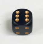 16mm 6 Sided Black Die with Gold Pips