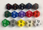 12 Sided Opaque Dice with Numbers