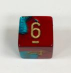 6 Sided Red-Teal w/gold Gemini Dice