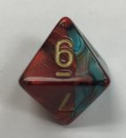 d8 Gemini Red Teal Gold Dice - DiceEmporium.com