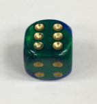 16mm 6 Sided Blue-Green w/gold Gemini Dice