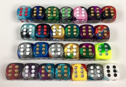 16mm 6 sided Gemini dice available in 26 different color combinations.