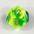 12 Sided Green-Yellow w/silver Gemini Dice