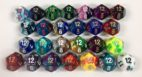 12 sided Gemini dice with numbers are available in 26 different color combinations.