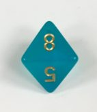 8 Sided Borealis Teal/gold Signature Dice