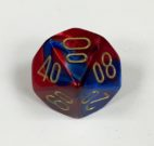 10 Sided Tens 10 Blue-Red w/gold Gemini Dice