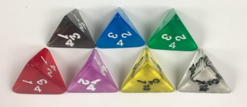 Koplow 4 Sided Transparent dice with numbers - available in 7 different colors