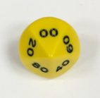 10 Sided dt00 Yellow/black Opaque Dice from Koplow