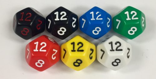 Koplow 12 Sided Opaque dice with numbers - available in 7 different colors