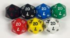 Koplow 20 Sided Opaque dice with numbers - available in 7 different colors