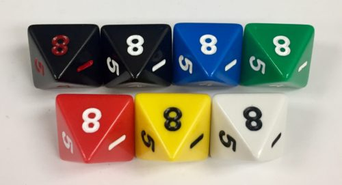 Koplow 8 Sided Opaque dice with numbers - available in 7 different colors