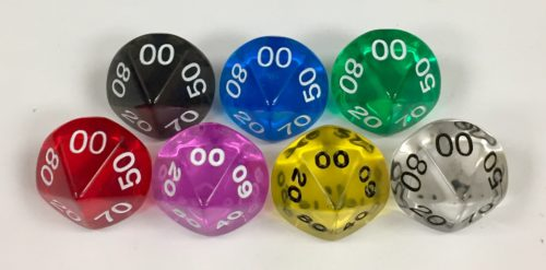 Koplow 10 Sided dt10 Transparent dice with numbers - available in 7 different colors