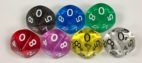 Koplow 10 Sided Transparent dice with numbers - available in 7 different colors