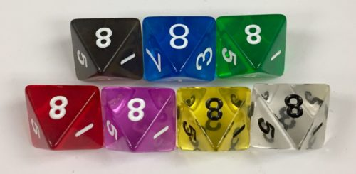Koplow 8 Sided Transparent dice with numbers - available in 7 different colors