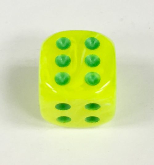 12mm-6-Sided-Vortex-Electric-Yellow-green Signature Dice