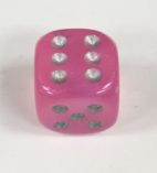 12mm 6 Sided Borealis Pink/silver Signature Dice