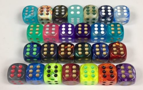 16mm 6 Sided Signature Dice available in 26 different colors