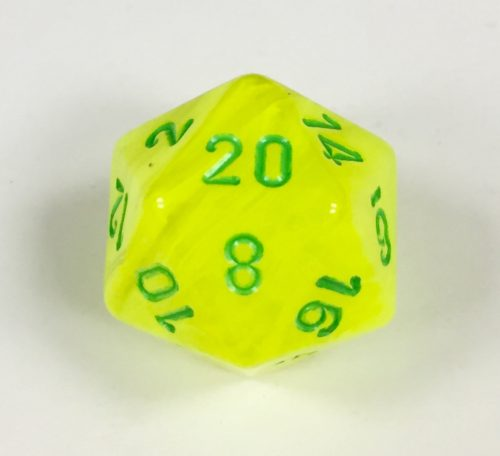 20-Sided-Vortex-Electric-Yellow-green Signature Dice