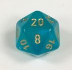 20 Sided Borealis Teal/gold Signature Dice