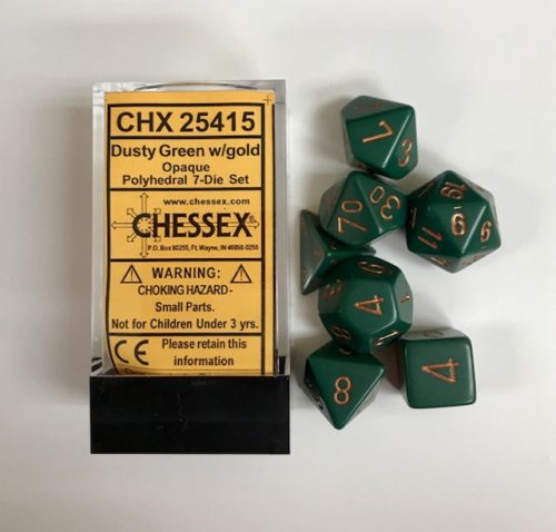 Dusty-Green-Gold-Chessex-Dice-CHX25415