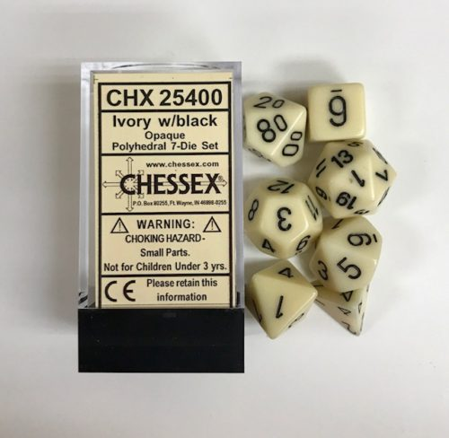 Ivory-Black-Chessex-Dice-CHX25400