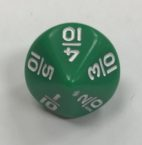 d10 10 Sided Fractions Green White Dice - DiceEmporium.com