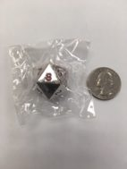20 Sided Metal Silver Dice with Red Ink. 22mm in size