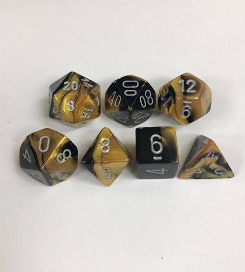 Black-Gold-Silver-Gemini-Chessex-Dice-CHX26451