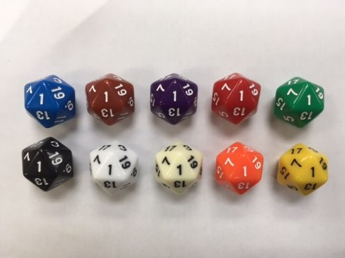 HD Set of ten opaque 20 sided dice.