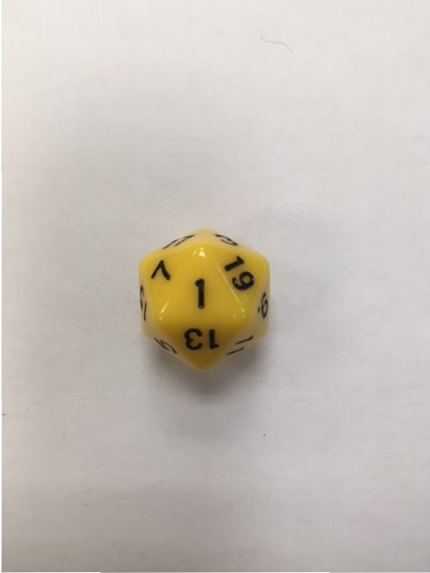 HD Yellow 20 Sided Polyhedral Dice