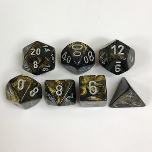 Set of 7 Polyhedral Dice from Chessex. Leaf Black and Gold Color with Silver Numbers