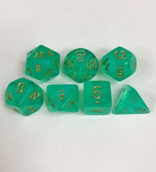 Signature Borealis Light Green with Gold Numbers. Polyhedral 7 Die Set from Chessex