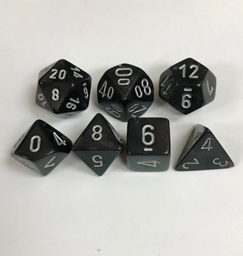 Signature Borealis Smoke with Silver Numbers. Polyhedral 7 Dice Set from Chessex