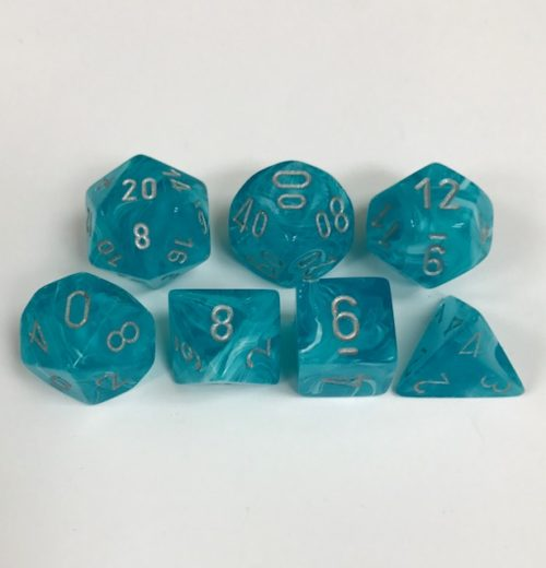 Set of 7 Polyhedral Dice from Chessex. Cirrus Aqua Color with Silver Numbers