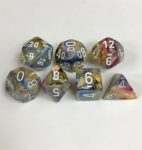Signature Festive Carousel with White Numbers. Polyhedral 7 Dice Set from Chessex