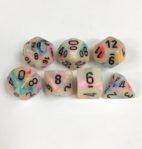 Signature Festive Circus with Black Numbers. Polyhedral 7 Dice Set from Chessex