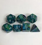 Signature Festive Green with Silver Numbers. Polyhedral 7 Die Set from Chessex