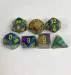 Signature Festive Rio with Yellow Numbers. Polyhedral 7 Die Set from Chessex