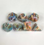 Signature Festive Vibrant with Brown Numbers. Polyhedral 7 Die Set from Chessex