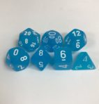Signature Frosted Caribbean Blue with White Numbers. Polyhedral 7 Dice Set from Chessex