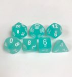 Signature Frosted Teal with White Numbers. Polyhedral 7 Dice Set from Chessex