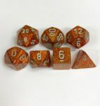 Signature Glitter Gold with Silver Numbers. Polyhedral 7 Die Set from Chessex