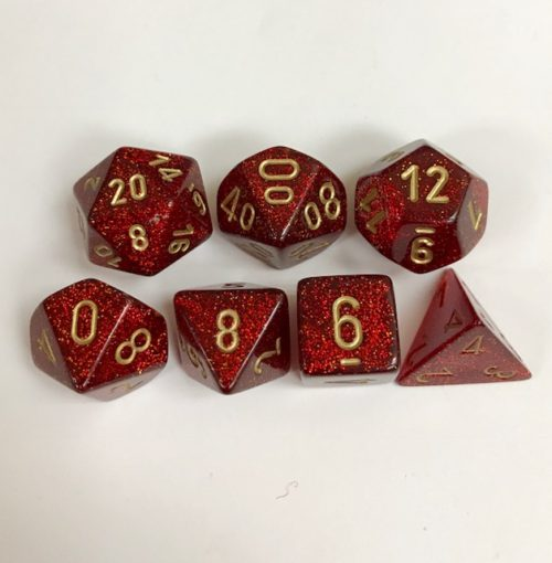 Signature Glitter Ruby with Gold Numbers. Polyhedral 7 Die Set from Chessex