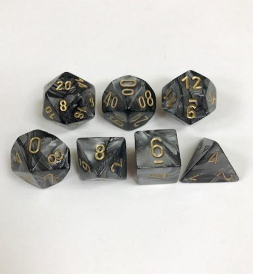 Signature Lustrous Black with Gold Numbers Polyhedral 7 Die Set from Chessex