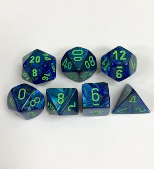 Signature Lustrous Dark Blue with Green Numbers Polyhedral 7 Dice Set from Chessex